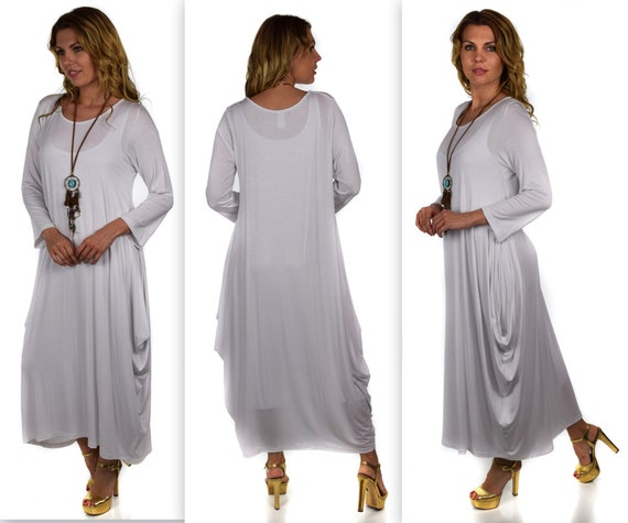 Plus Size Dress,New Designer Dress, Waterfall Dress, Balloon Dress,  Lagenlook Dress, Plus Size Dress, White Dress