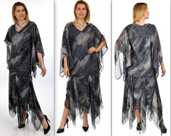 Exclusive Chiffon skirt Set, Beaded skirt set, Handkerchief skirt set, Party skirt set, 2 pc skirt set, Party wear. Peeka boo Sleeves
