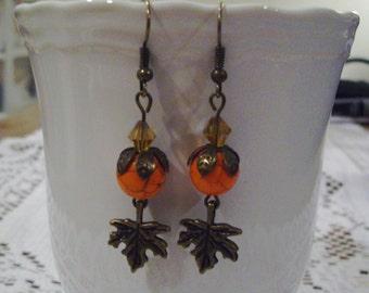 Orange Fall Leaf Earrings