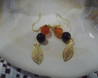 Gold Leaf Earrings    FREE SHIPPING
