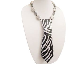 ZEETU necktie necklace zebra stripes safari womens necktie feminine necktie modern necktie ladies necktie wildlife tribal animal print