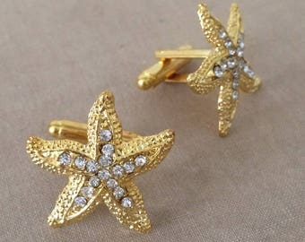 SLIGHT SECOND, Beach Wedding Cufflinks GOLD, wedding cuff links, groomsmen gold cuff links cufflinks mens accessories grooms gift starfish