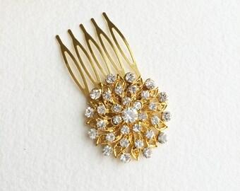 SLIGHT SECOND, Gold hair Comb, gold comb, small, round, Art Deco hair comb, Art Deco hair accessories, Gold Bridal Hair Comb