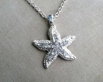 Starfish Necklace,Beach Wedding necklace, beach wedding jewelry, silver,  destination wedding, Bridal necklace  SILVERTONE SILVER PLATE