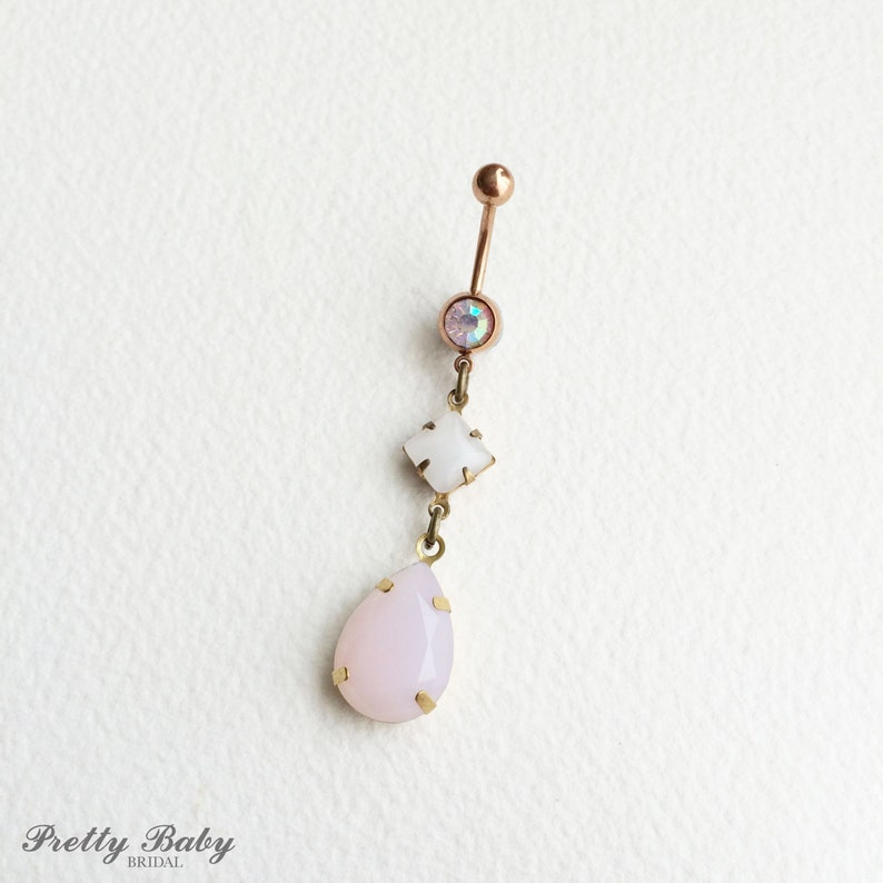 Pink Belly Button Ring Rose Gold Belly Ring Rose Quartz Belly Button Ring Bellybutton Ring Teardrop Pink Diamond Rose Gold