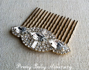 gold hair comb, gold bridal comb, hair accessories, Gold Comb, gold rhinestone wedding clip comb GOLD NAVETTE MED