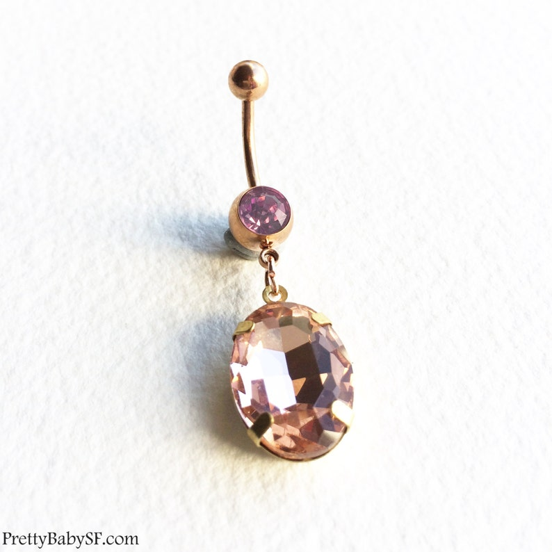 Rose Gold Belly Ring Large Crystal Belly Ring Belly Button Ring Bellybutton Ring Body Jewelry Rose Gold Belly Ring Piercing Wholesale