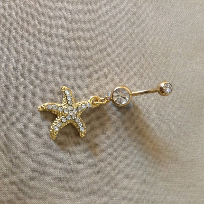 bellybutton ring GOLD navel bar belly ring piercing wholesale beach wedding gold belly ring Belly button ring,starfish body jewelry