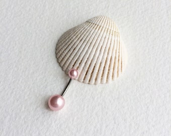 pearl belly ring, PINK, pearl belly button ring, pearl, bellybutton ring, belly button ring, silver navel bar belly ring piercing barbell