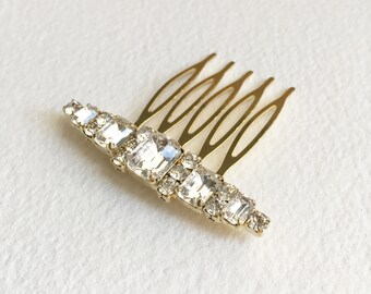Art Deco Comb, Bridal Hair Comb, gold, comb, bridal hair accessories head piece wedding crystal rhinestone BAR SMALL GOLD