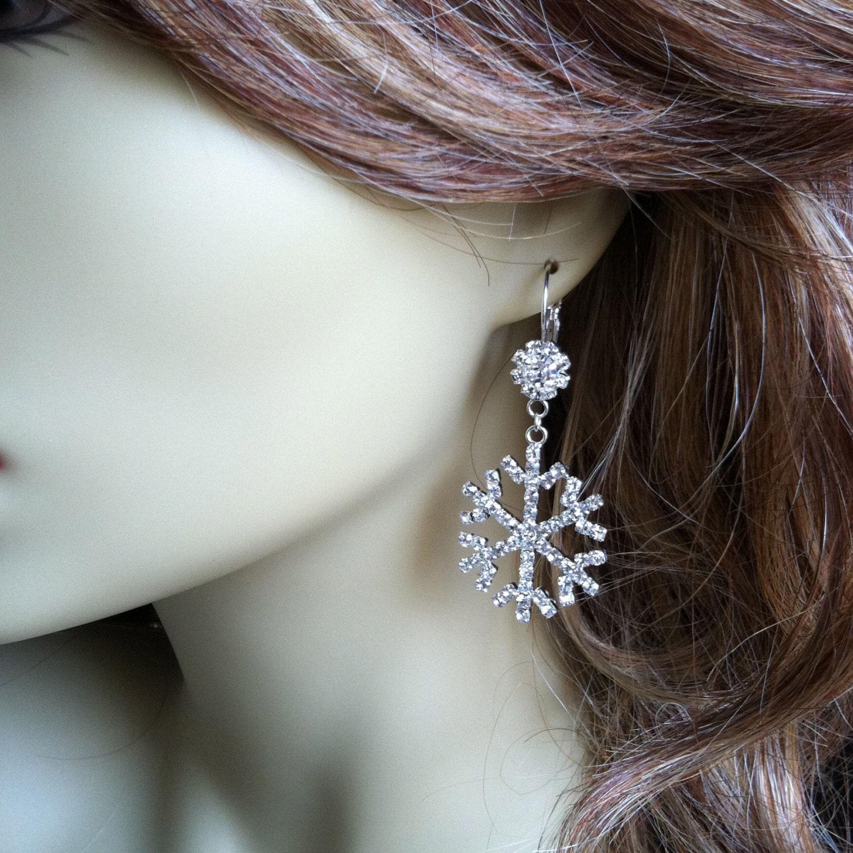 Snowflake earrings winter jewelry snowflake wedding