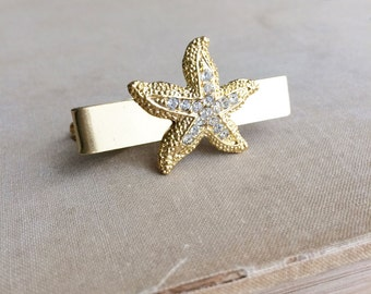 Beach Wedding Tie Bar, wedding tie bar,tie tack  tiebar groomsmen groom mens accessories grooms gift STARFISH GOLD