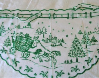 Vintage Flocked Sheer Christmas Scene Apron with Glitter Very Nice