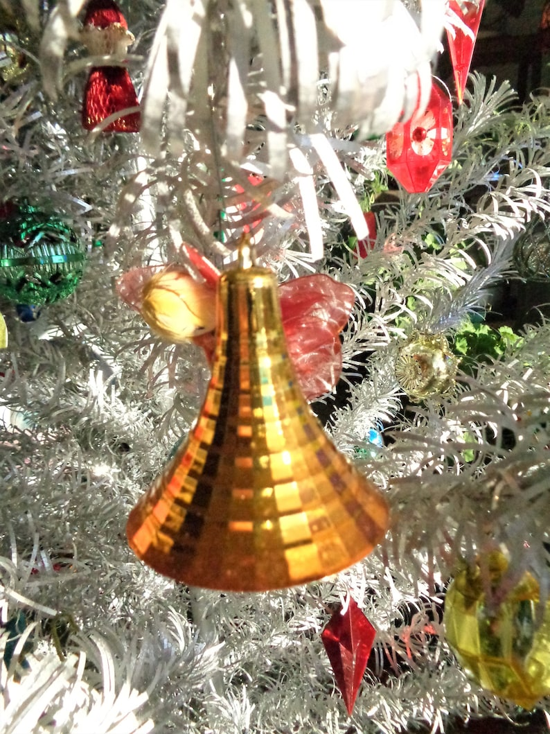 Vintage Christmas Atomic Bells Gold and Silver NOS and Small Sputniks Silver 17 Ornaments