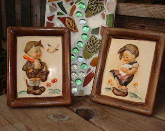 Napco Boy and Girl Plaques Hummel Style .