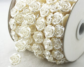 18mm Flower Shaped ivory Pearl Chain Trims Sewing Craft Wedding Decoration  LZ138 be414d2d6582