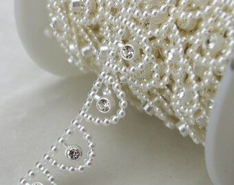 15mm Ivory Pearl and Rhinestone Sewing Trims Applique Wedding Decoration  LZ109 7a54af788cc1