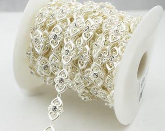 18mm Ivory Doubleheart Pearl Rhinestone Chain Sewing Trims Cake Decoration  LZ195 b759fda2f2c3