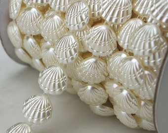 16mm Ivory Shell Pearl Chain Sewing Chain Trims Costume Cake Decoration  LZ113 fe0deef35b92