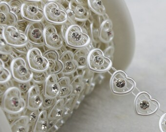 8mm Ivory Heart Pearl And Rhinestone Chain Sewing Trims Cake Decoration  LZ120 150c597839e8