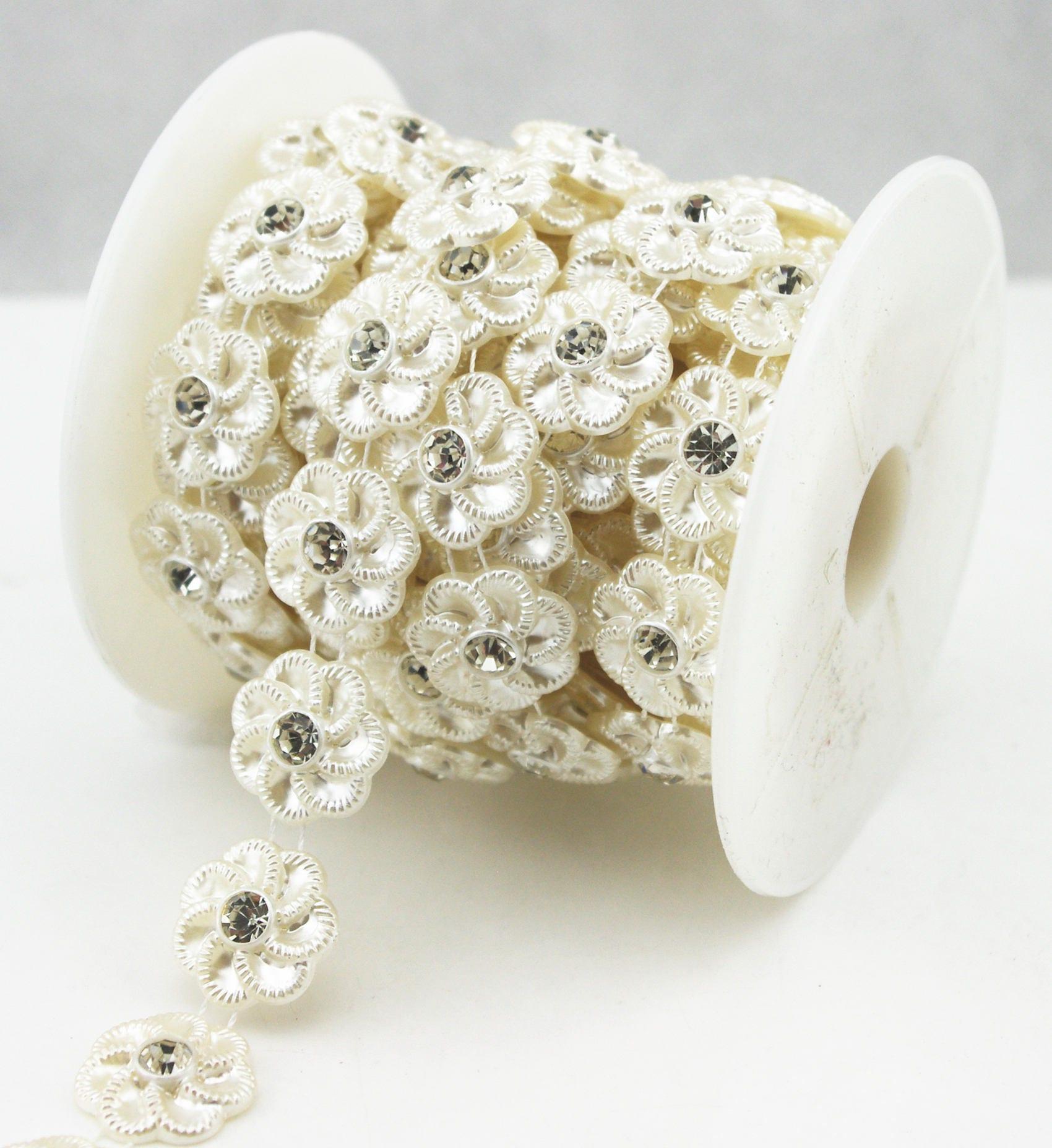 20mm Ivory Flower Pearl Rhinestone Chain Sewing Trims Cake  31c01ec95877