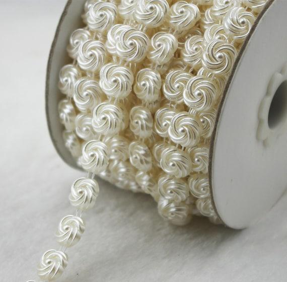 10mm Flower Shaped ivory Pearl Rhinestone Chain Wedding  3c63c3ee206a