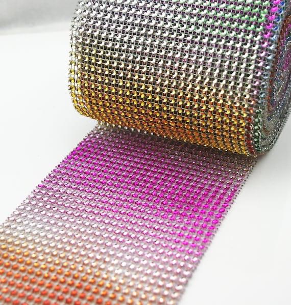 Rainbow Multicolour WEDDING CAKE BLING TRIM DIAMONTE SPARKLY RIBBON 4.5/'/'x1Yard