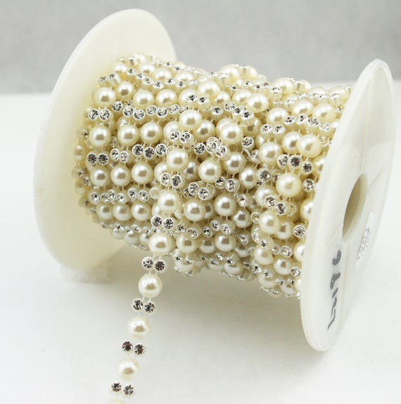 7mm Ivory Pearl Rhinestone Chain Sewing Trims Cake Decoration  93347ce6686a