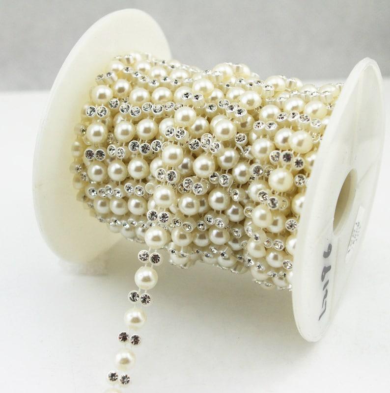 Perla cadena de Taza Vendedor Reino Unido Diamante Trim adorno con Nupcial recorte RHINESTONE