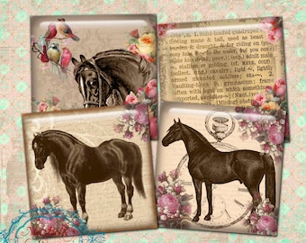 "Coasters 3.8""x 3.8""- INSTANT Digital Download-Pretty Vintage Horses and Roses Coasters"