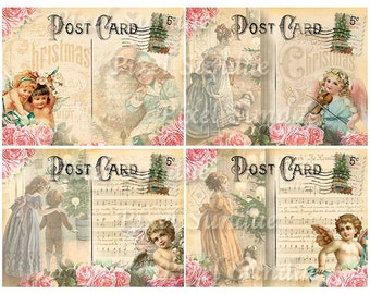 Vintage/Shabby Chic Style Christmas Postcards, INSTANT Download