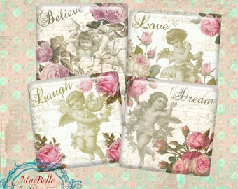 "Shabby Chic Coasters 3.8""x 3.8""- INSTANT Digital Download-Pretty Cherubs and Roses Coasters"