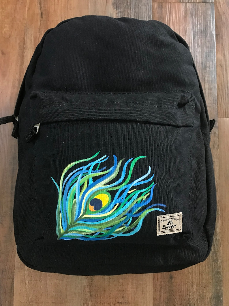 Peacock Accessories Peacock Feather Bag Everest Laptop Backpack Painted Backpack Black Backpack