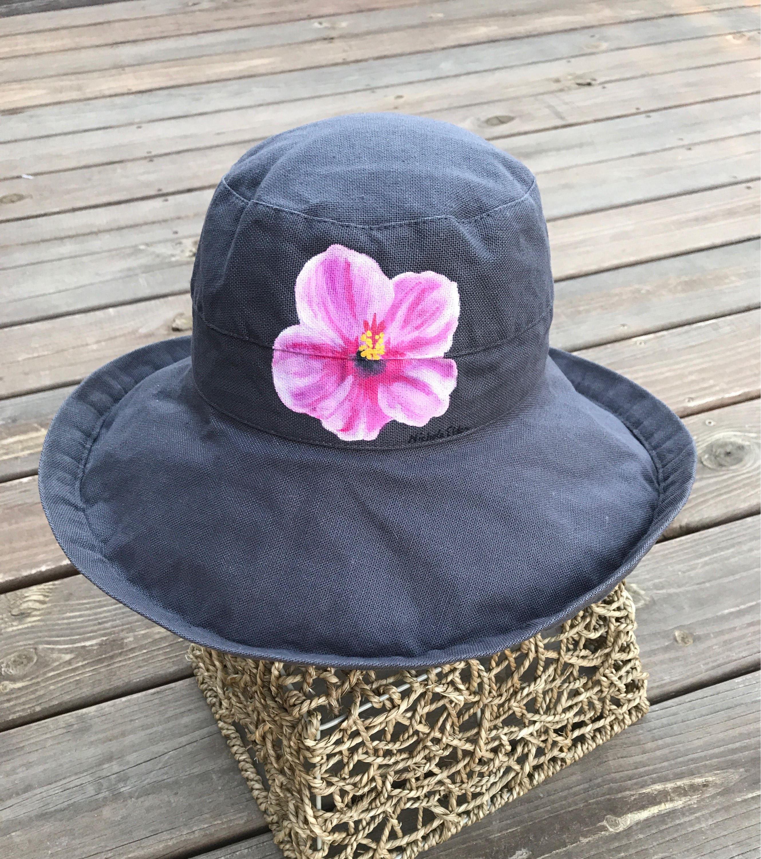 2f263340 Women's Scala Big Brim Hat Grey Cotton Sun Hat Beach | Etsy