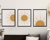 Boho Sun Art, Set of 3, Boho Sun Decor, Boho Sun Wall Art, Boho Sun Print, Witchy Sun illustration, Abstract Sun Art, Aesthetic wall art