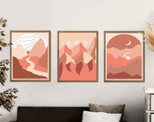 Desert Digital Print set of 3, Midcentury wall art, Sun and moon art, Boho landscape art, Desert landscape, Desert Print, Desert Art Print,