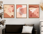 Burnt Orange Print Set of 3, Burnt Orange Decor, Burnt Orange Art, Gallery Wall Set, Terracotta Wall Art, Above the Bed Wall Art, DIGITAL