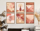 Burnt Orange Print Gallery Wall Set of 6, Boho Abstract Decor, Burnt Orange Boho, Burnt Orange Art, Above Bed Art, Abstract Terracotta Decor