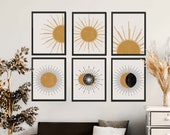 Sun and Moon Art Set of 6, Boho Prints Gallery Wall Set, Boho Sun Art, Boho Sun Wall Art, Boho Sun Print, Witchy Wall Decor, Celestial Decor