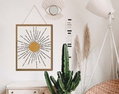 Sunburst wall art, Boho Sun Decor, Abstract Sun Art, Sun and moon art, Celestial Decor, Above Bed Art, Above Bed Decor, Aesthetic room decor