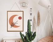 Sun and moon art, Moon poster, Terracotta Decor, Midcentury wall art, Boho artwork, Boho art print, Gallery Wall Set, Aesthetic room decor