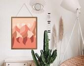 Boho Wall Decor, Above bed decor, Aesthetic room decor, Midcentury wall art, Sun and moon art, Desert landscape, Desert Art Print, DIGITAL