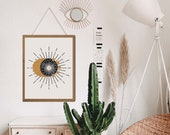 Sun and moon art, Witchy Decor, Moon poster, Moon phases, Boho Sun Decor, Celestial Decor, Above Bed Art,Above bed decor, Aesthetic wall art