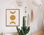 Witchy Decor, Witchy Wall Decor, Sun and moon art, Moon poster, Moon phases, Moon Decor, Boho Wall Decor, Celestial Decor, Above Bed Art