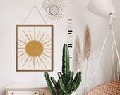 Sunburst wall art, Boho Sun Decor, Abstract Sun Art, Sun and moon art, Celestial Decor, Above Bed Art, Above Bed Decor, Aesthetic room decor