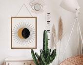 Witchy Decor, Sun and moon art, Moon poster, Moon phases, Boho Sun Decor, Celestial Decor, Above Bed Art,Above bed decor, Aesthetic wall art