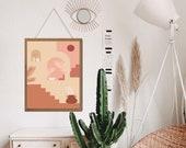Terracotta Decor, Above Bed Decor, Burnt Orange Print, Burnt Orange Decor, Burnt Orange Art, Gallery Wall Set, Aesthetic room decor