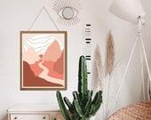 Desert Digital Print, Midcentury wall art, Sun and moon art, Boho Wall Decor, Desert landscape, Desert Print, Desert Art Print,