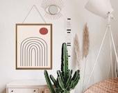 Neutral Rainbow, Rainbow wall hanging, Boho Rainbow Print, Aesthetic Room Decor, Aesthetic wall art, Above bed decor, above bed art