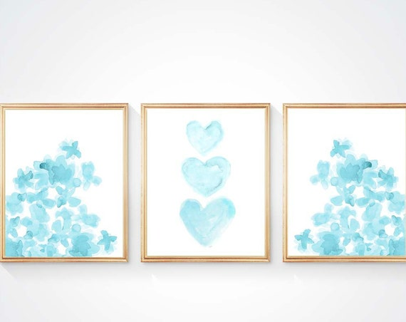 Turquoise Girls Prints with Flowers and Hearts, Set of 3- 8x10 in 9 colors